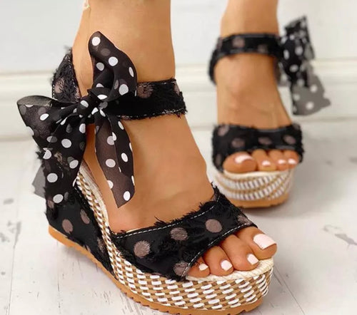 Cute Polka Dot Ankle Tie Platform Sandal Wedge Shoes