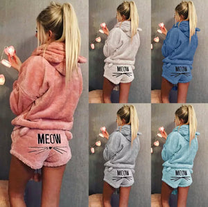 "Cozy Fleece Pajama (XXL-5XL)Two-Piece Loungewear Set with ""Meow"" Shorts and Snuggly Soft Pull-Over Hoodie"