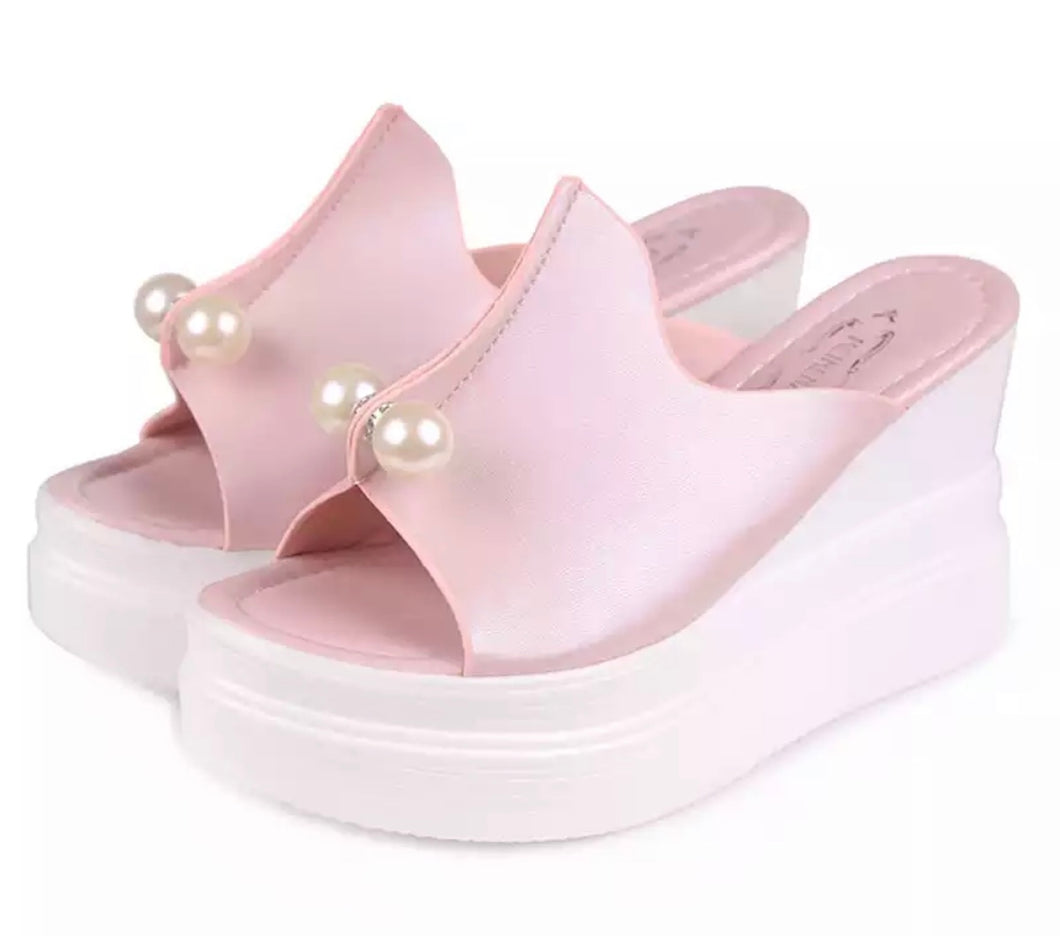 Faux Pearl Satiny Platform Wedge Slide Sandals