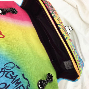 Colorful Graffiti Print Handbag with Chain Straps in Medium or Large