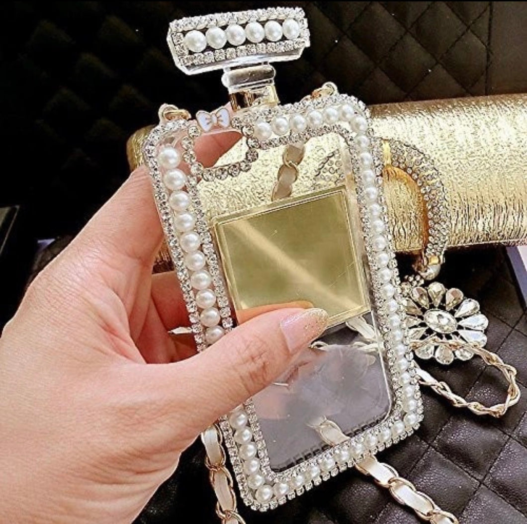 Faux Diamond Crystal Pearl Perfume Bottle Shaped Chain Phone Cases for Women