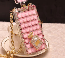 Load image into Gallery viewer, Mega Bling Perfume Bottle Shaped Phone Case with Strap