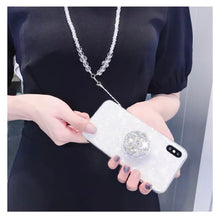 Load image into Gallery viewer, White Bling or Pink Bling Gem Cover Case with Design and Flexible Case with Holder and Gem Strap