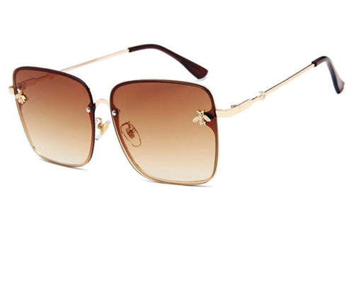 Oversized Square Sunglasses with Gold Colored Rims and Gold Bumblebees on Frames
