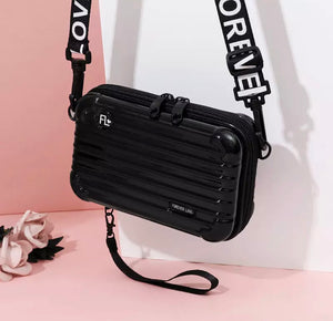 Modern Hard Plastic Suitcase Style Small Crossbody Handbag with Black and White Strap