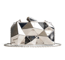 Load image into Gallery viewer, Geometric Evening Purse Silver Bag Clutch