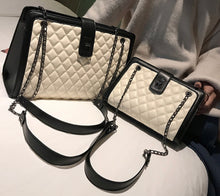 Load image into Gallery viewer, Soft Quilted Pattern Style Shoulder Handbag with Decorative Chain Strap