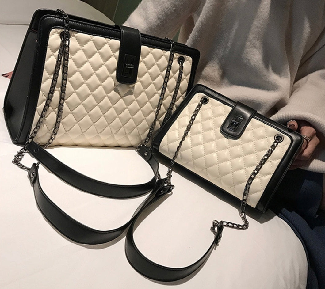 Soft Quilted Pattern Style Shoulder Handbag with Decorative Chain Strap