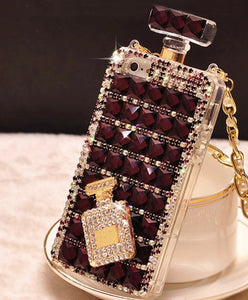 Mega Bling Perfume Bottle Shaped Phone Case with Strap