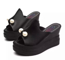 Load image into Gallery viewer, Faux Pearl Satiny Platform Wedge Slide Sandals