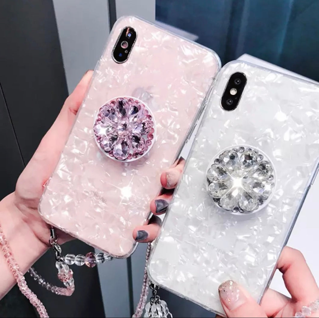 White Bling or Pink Bling Gem Cover Case with Design and Flexible Case with Holder and Gem Strap