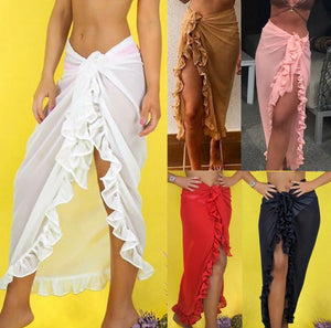 Chiffon Beach Bathing Suit Cover Up Ruffle Sarong Long Skirt
