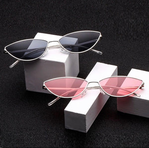 Retro Small Oval Sunglasses Cat Eye Metal Frame Vintage Sun Glasses For Women Clear Glasses UV400