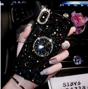 Bling Flexible Phone Case Cover w/Moon and Star Design