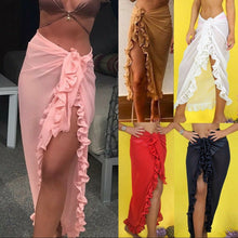 Load image into Gallery viewer, Chiffon Beach Bathing Suit Cover Up Ruffle Sarong Long Skirt