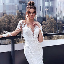 Load image into Gallery viewer, ETHEL ROLYN Mermaid Custom Lace Embroidered Elegant and Classy Long Tailored and Fitted Backless Wedding Dress