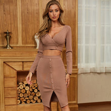 Load image into Gallery viewer, Women's Long Sleeve Hollow Out Crop Top Style Sexy Plunging V-Neck Khaki Brown Long Slit Celebrity Runway Party Club Dress
