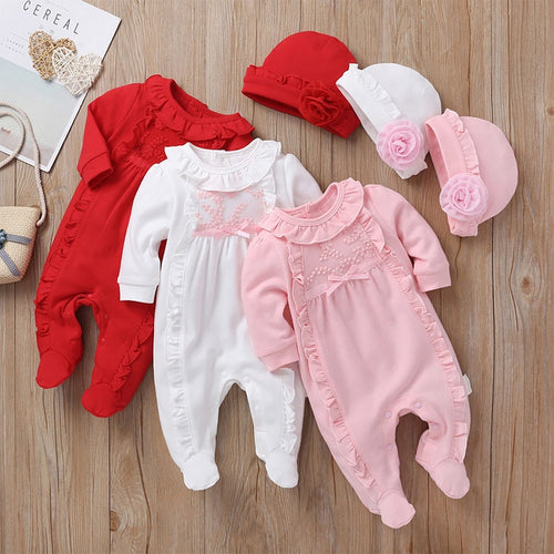 2pcs/set Princess Style Baby Girl Clothes Girls Lace Rompers+Hats Baby Clothing Sets Infant Jumpsuit Gifts