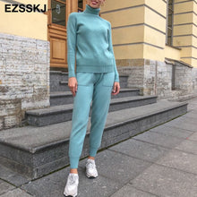 Load image into Gallery viewer, 2 Piece Set Women Knitted Tracksuit Turtleneck Sweater + Harem pants Pullover Sweater Set Knitted Outwear Sweater Outfit Suit