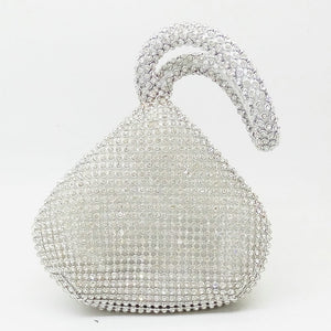 Sparkling Silver Beaded Women's Mini Evening Clutch Wristlets Bag Bridal Wedding Party Crystal Handbag and Purse