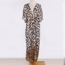 Load image into Gallery viewer, Women's Leopard Print Long Beach Dress Sexy Beachwear Cover Up Half Sleeve Swimwear Tie Waist Belted Bathing Suit Coverup