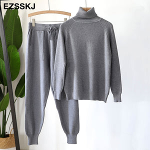 2 Piece Set Women Knitted Tracksuit Turtleneck Sweater + Harem pants Pullover Sweater Set Knitted Outwear Sweater Outfit Suit
