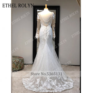 ETHEL ROLYN Mermaid Custom Lace Embroidered Elegant and Classy Long Tailored and Fitted Backless Wedding Dress