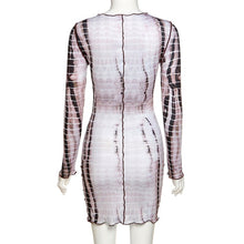 Load image into Gallery viewer, Zigzag Striped Fashion Dress O Neck Scalloped Skinny Mini Form-Fitted Long Sleeve Above the Knee Short Dress