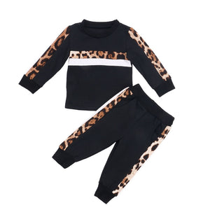 1-6Y Girls Clothing Sets Autumn Winter Toddler Girls Clothes 2-Piece Set Outfit Kids Leopard Print Tracksuit For Children Clothing
