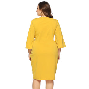 Women's New Spring Autumn Plus Size Dress Casual Long Sleeve O-neck Tie-Up Belt Dress