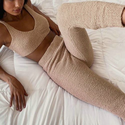 2pcs Loungewear Set for Women Work from Home Wear Plush Crop Top and Fitted Pencil Pants Casual Pajama Set
