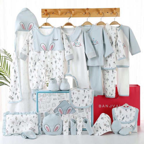 17 Pcs Newborn Baby Clothes 100% Cotton Infant Suit Baby Boy Girl Clothes Set Outfits Pants Baby Clothing Hat Bib