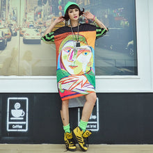 Ladda upp bild till gallerivisning, Women's T-Shirt Dress Oversized Stylish Print Summer Knee-Length Dresses Loose Hip Hop Casual Clothing