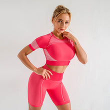 Ladda upp bild till gallerivisning, Women's Seamless Yoga Two Piece 2 Pc Set Gym Workout Clothes Fitness Sports Suits Short Sleeve Top High Waist Shorts Running Sportswear Outfit
