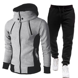 Men's Choice of Two Piece Set Tracksuit or One Piece Winter Jacket Fashion Scarf Collar Hooded+Pants Casual Fleece Zipper Jacket Coat Warm Sportswear Sports Suit