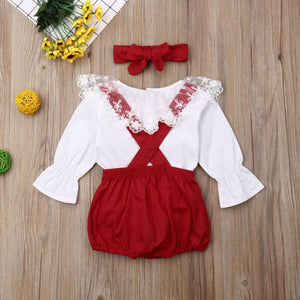 0-24M Newborn Infant Kids Baby Girls Clothes Sets White Lace Long T-shirt Tops Bib Pants Leggings+Headband 3pcs Outfits Clothes