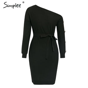 Women's Casual Knitted Pullover One Off the Shoulder Buttons Sleeve Loose Midi Dress with Tie Up Waist Belt