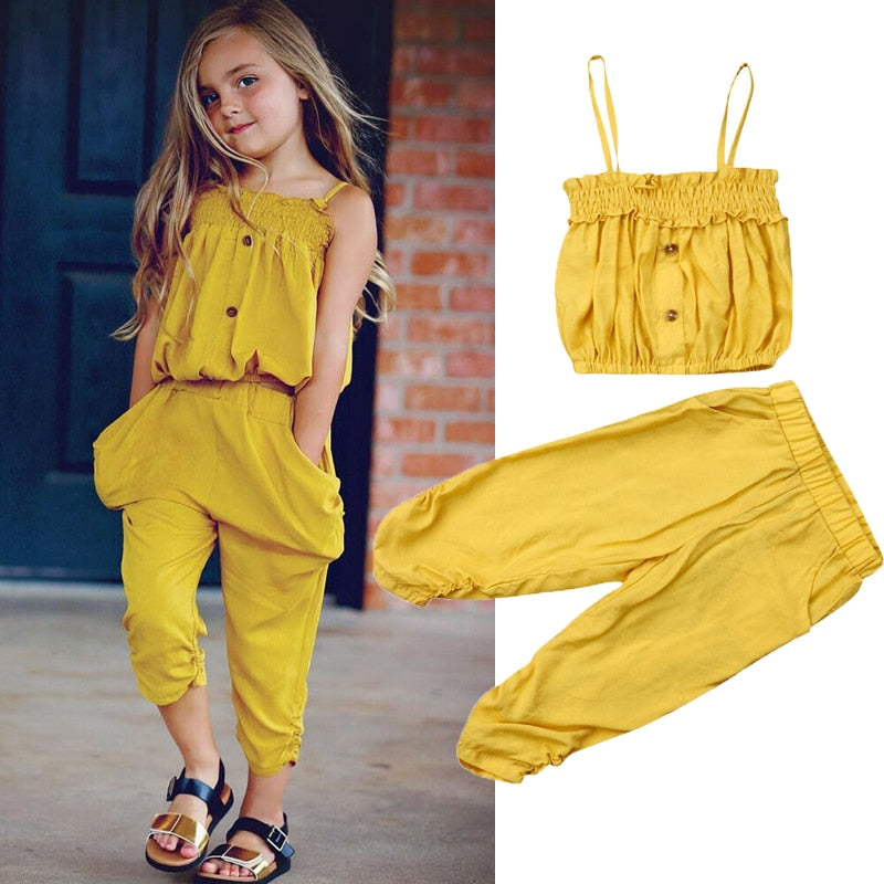 1-5Y Toddler Kid Baby Girl Clothes Sets Solid Strap Tops+ Long Pants Casual Outfits Set