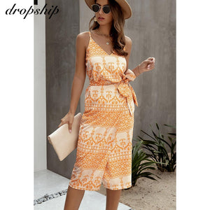 Maxi Summer Spaghetti Strap Sleeveless Mid-Calf Long Printed or Solid Sun Dress