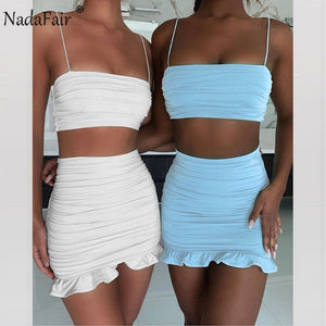 Summer Two Piece Set Women's Outfit Shoulder Straps Sleeveless White Crop Top and Fitted Ruffled Short Mini Skirt Set