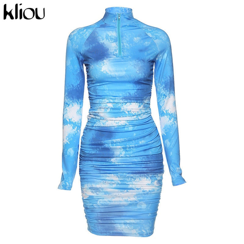 Women's High Quality Tie Dye Print High Neck Fitted Mid-Length Stretchy Casual Pleated Slim Fit Zipper Dress