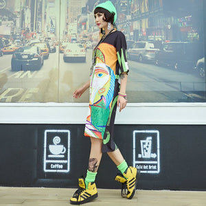 Women's T-Shirt Dress Oversized Stylish Print Summer Knee-Length Dresses Loose Hip Hop Casual Clothing