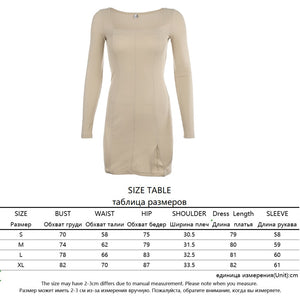 Women's Long Sleeve Choice of Velvet, Cotton, or Ribbed Material Low-Cut Dress Short Mini Form-Fitting Solid Color Slit Party Dress