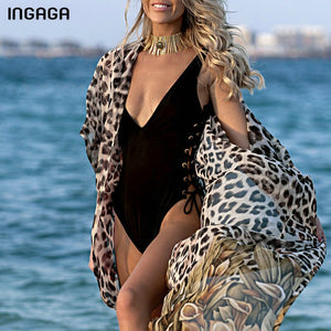 Women's Leopard Print Long Beach Dress Sexy Beachwear Cover Up Half Sleeve Swimwear Tie Waist Belted Bathing Suit Coverup