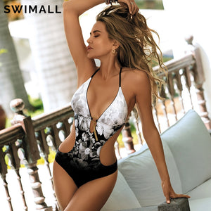 Women's Print One Piece Swimsuit Swimwear Deep V Monokini Bodysuit Backless Bathing Suit Beach Wear High Cut Swim Suit