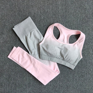 Women's Choice of One Piece 1 Pcs or Two Piece 2 Pcs Ombre Yoga Set Sports Bra and Leggings Women Gym Set Clothes Seamless Workout Fitness Sportswear Fitness Sports Suit Sportswear