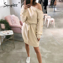 Load image into Gallery viewer, Women's Casual Knitted Pullover One Off the Shoulder Buttons Sleeve Loose Midi Dress with Tie Up Waist Belt