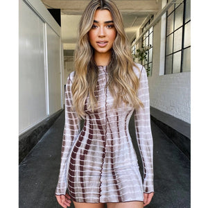 Zigzag Striped Fashion Dress O Neck Scalloped Skinny Mini Form-Fitted Long Sleeve Above the Knee Short Dress