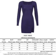 Load image into Gallery viewer, Women's Long Sleeve Choice of Velvet, Cotton, or Ribbed Material Low-Cut Dress Short Mini Form-Fitting Solid Color Slit Party Dress