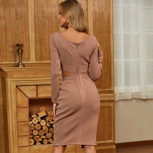 Women's Long Sleeve Hollow Out Crop Top Style Sexy Plunging V-Neck Khaki Brown Long Slit Celebrity Runway Party Club Dress